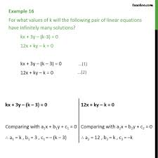example 16 for what values of k will the pair of linear cross multiplication