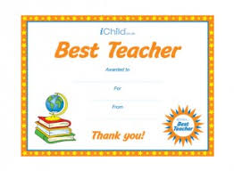 Best Teacher Award Template Best Teacher Certificate Ichild