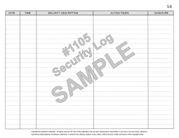 Security Log Book 1105 Log Books Unlimited Your Online Logbooks