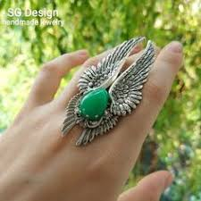 "Silver <b>Ring</b> ""Angelа"" Green Quartz,<b>Silver Wings</b>,Victorian wings ..."