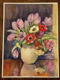 Vintage Marcella Smith Lithograph Art Print No.1823 Still Life Flowers in  Vase | eBay