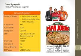 Papa Johns Size Chart Case Analysis Papa Johns Pizza Group 1_final Draft