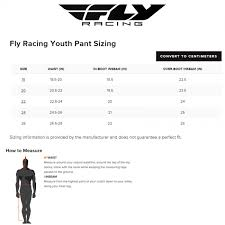Fly Pants Size Chart Fly Racing Youth Boot Size Chart Best Picture Of Chart