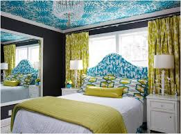 yellow and blue bedroom with black walls
