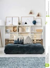 Futon Interior Design Living Room With Green Futon Stock Image Image Of Design