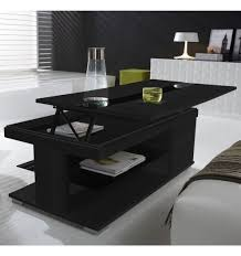 Table basse relevable bois grisé et verre noir- meuble