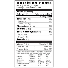 Nutrition Facts Organic Traditions Organic Coconut Palm