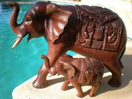extra large elephant home decor made from dark wooden sculpture