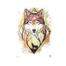 Novinka Vodotěsný Unisex žlutý Vlk 3d Tetování Samolepky Dočasné Body Art At Vova