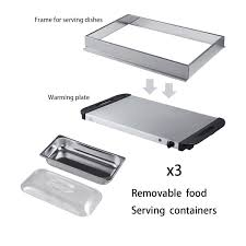 7 of 12 2 5 quart electric buffet food warmer 3 tray stainless steel chafing dish server