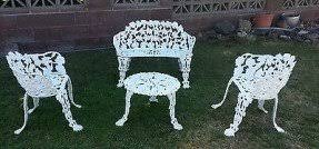 white cast iron patio furniture. antiquewhitegardencastironbenchsetpatio white cast iron patio furniture r