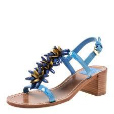 tory burch blue patent leather emilynn beaded t strap sandals size 35 nextprev prevnext