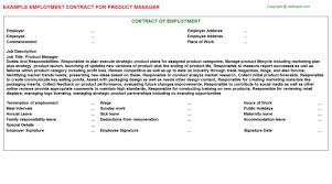 product manager employment contract contract manager job description