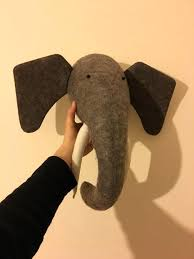 elephant head wall mount elephant stuffed animal wall mount animal head nursery decor gold elephant head
