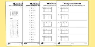 Grid Method Multiplication Worksheet Pack Primary Resource