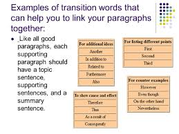 writing an expository essay ppt examples of transition words that can help you to link your paragraphs together