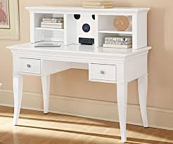 small white girls writing desk with 2 drawers and 4 shelves on work top