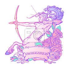 Fototapeta Střelec Znamení Zvěrokruhu S Ozdobným Rámečkem Růží Astrologie