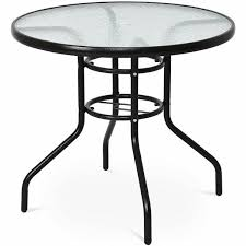 garden patio tables black round metal