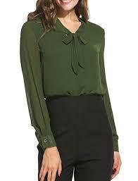 modase Women¡¯s Casual Long Sleeve Shirts <b>Bow Tie</b> Neck ...