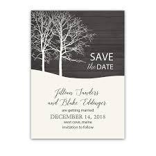 Winter Wedding Save The Date Rustic Barn Wood Winter Wedding Save The Date Card