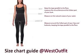 Size Chart Guide For Women Clothing Westoutfit Com