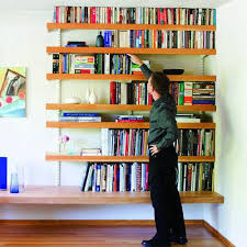 image of how to build floating shelves in an alcove