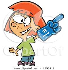 sports fan clipart. caucasian sports fan girl wearing a foam finger by toonaday clipart u