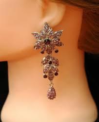 free prom purple earrings crystal earrings chandelier earrings formal jewelry flower earrings silver prom jewelry prom earrings 38 00 usd