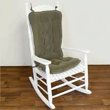 grey pattern cushions set with grey wooden rocking chair having armrest and curved backrest