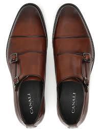 ci cognac leather double monk strap shoes 2 3
