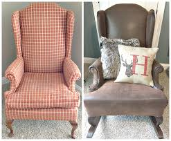 fawn over baby diy rustic reupholstered wing back rocker reupholstering a chair how much f