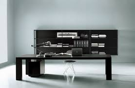 exclusive home office design with loong black desk and arch lamp