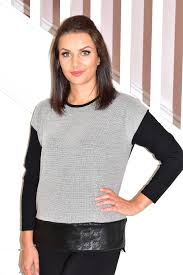 Grey <b>Pullover</b> With Brooch & Leather Trim - La Crème Boutique