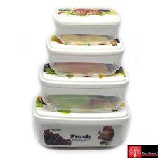 4pcs set rectangular food container plastic sealed boxes lunch boxs airtight transparent storage box set