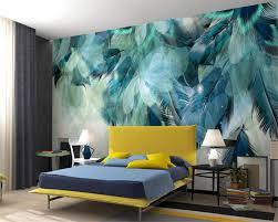 Us 90 40 Offbeibehang Custom Tapete Große Hohe Qualität 3d Mode Blauen Feder Tv Sofa Hintergrund Wohnzimmer Schlafzimmer Wandmalereien 3d Tapete