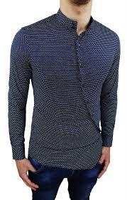 Gents Shirt Pocket Design Camicia Uomo Slim Fit Blu Aderente Fantasia A Pois Con