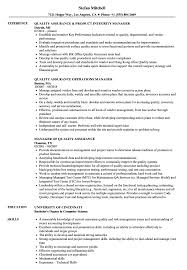 Assurance Quality Manager Resume Samples | Velvet Jobs