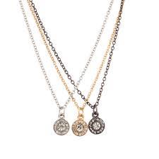 pave crystal disc tri color pendant f best friends necklace set 3 pc