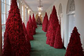 Trump Leaving Christmas Tree Lighting Melania Trumps Red Christmas Trees Become Memes Time