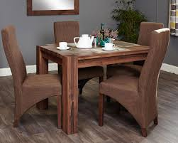 image of shiro walnut 4 seater dining table set full back socdr04a cdr03c with walnut