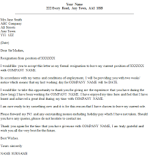 formal resignation letter example  two weeks  notice  icover  formal resignation letter example 2 weeks39 notice