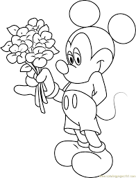 Small Picture Mickey Mouse Having Flowers in Hand Coloring Page Free Mickey