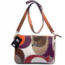 Coach Poppy Op Art Medium Tan White Crossbody Bags DXI