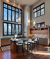 pendant lighting for high ceilings. Decorations:Great Looking Small Kitchen Design With Wooden Island And High Ceiling Lighting Ideas Pendant For Ceilings T