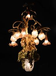beautiful antique art nouveau style chandelier in gilt bronze and molded glass with id bos and