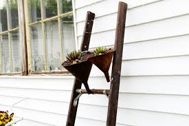 if you recall the vintage ladder i used as a succulent plant stand in my junk garden well the plant in the largest funnel grew so big that it toppled out