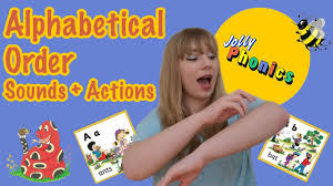 Identify the picture and stick its beginning sound. Jolly Phonics Alphabetical Order Sounds Actions Youtube