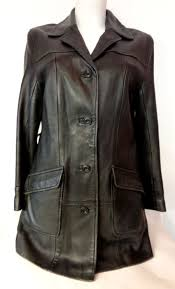 vintage 1980 s black leather fitted mac style trench coat