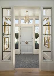 Vestibule with Pale Blue Front Door